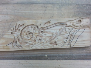 Test panel for carving with the plunge router.