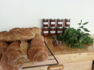 The bread hath risen! Sourdough bread with chutney and a mug of lemonbalm tea, anyone?